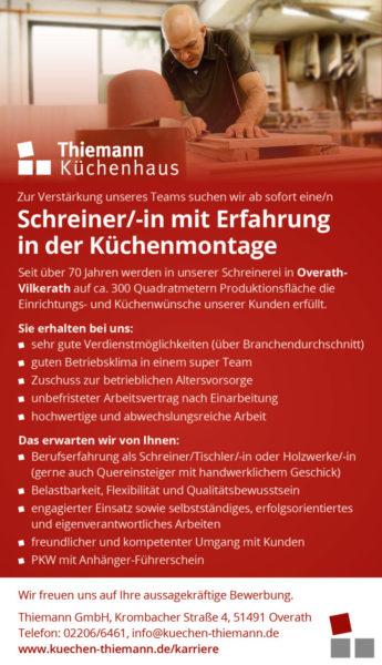 Thiemann Stellenanzeige Schreiner Tischler Kuechenmontage Overath