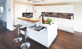 Küchen modern u-form hochglanz  Kochinsel Küchentraum in Hochglanz weiß mit Theke und modernster ...
