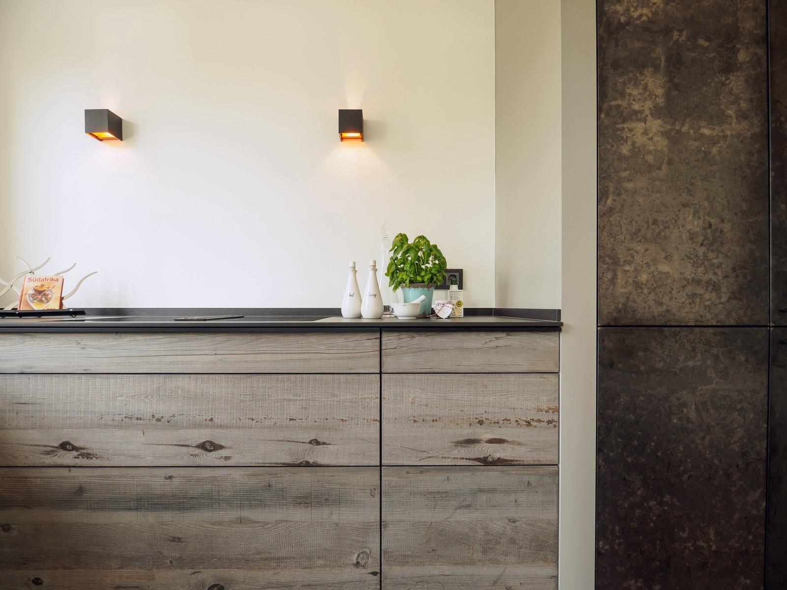 Kueche Exklusiv Design Fronten Holz Furnier Sonnenverbrannt Stahl Keramik Arbeitsplatte Miele 62